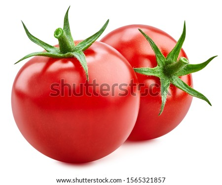 Tomato isolated on white background. Fresh red two tomato with clipping path