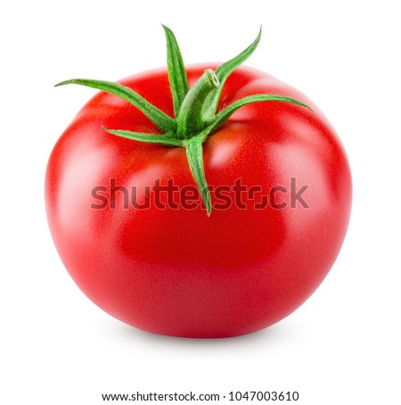Tomato isolated. Tomato on white. With clipping path. Full depth of field. #1047003610