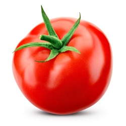 Tomato isolated. Tomato with clipping path. Full depth of field.