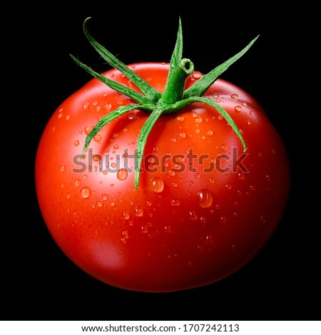 Tomato isolated. Tomato with drops on black. Tomato side view. Wet tomato black background.