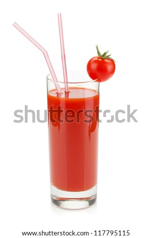 Tomato juice in a glass with drinking straw. Isolated on white background