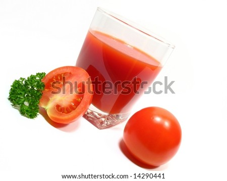 Tomato juice, tomatos and parsley leaves. Wholesome drink and nourishment. Dieted drink.