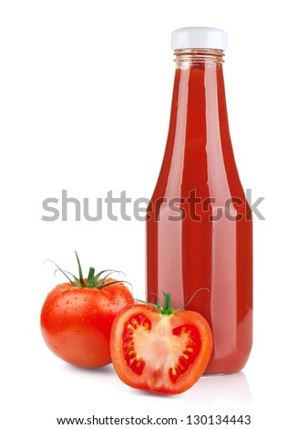 Tomato ketchup bottle and ripe tomatoes. Isolated on white background