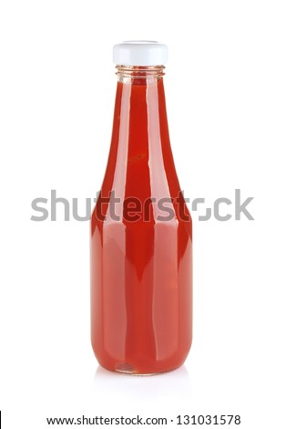 Tomato ketchup bottle. Isolated on white background