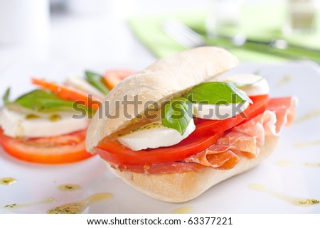 Tomato Mozzarella Sandwich with fresh basil leaves - stock photo