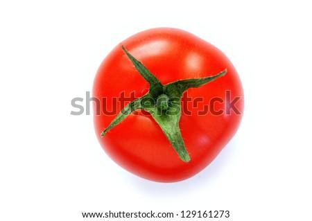 Tomato on white background top view