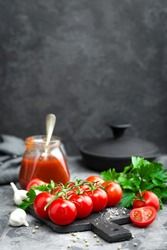 Tomato paste, sauce, ketchup or puree and fresh tomatoes