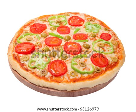 tomato pizza with pepper. close up.isolated .clipping Path