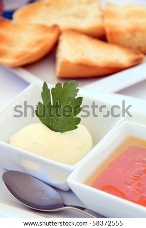 Tomato puree with olive oil and ajo aceite for toasted bread, Spain