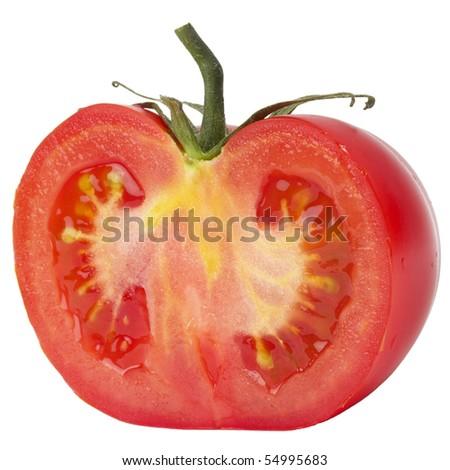 Tomato's half macro shot isolated over white background