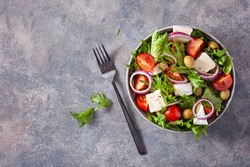 tomato salad with brie cheese olives onion lettuce