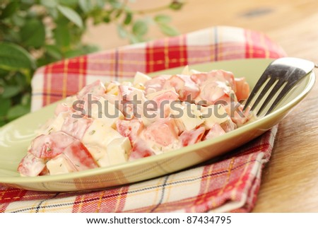 Tomato salad with cheese and eggs - stock photo