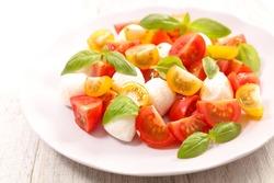 tomato salad with mozzarella and basil