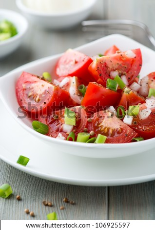 Tomato salad with onion, chive and coriander