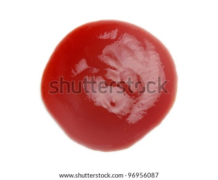 tomato sauce closeup isolated over white