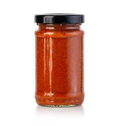 Tomato sauce jar on white background with clipping path