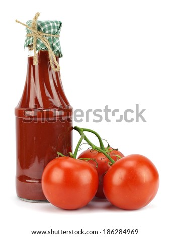 Tomato sauce, ketchup in glass jar on a white background