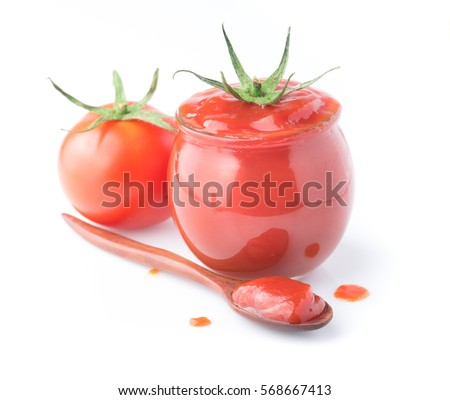 Tomato sauce, ketchup in glass jar on a white background #568667413