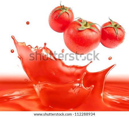 Tomato sauce splash making amazing waves and drops with 3 tomatos, Digital Painting