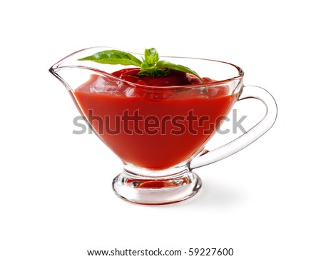 tomato sauce with basil leaf on a white background and with soft shadow