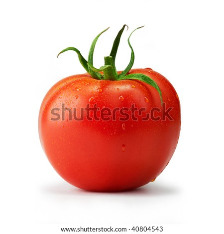 Tomato single with drops. The file includes a clipping path.  Professionally retouched high quality image.