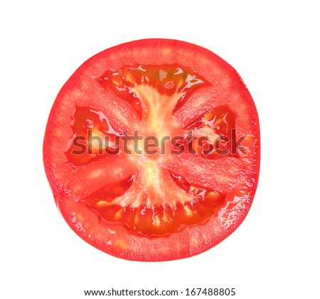 Tomato slice isolated on white background, top view