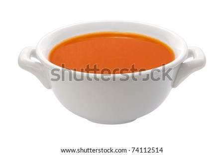 Tomato Soup Bowl isolated with a clipping path