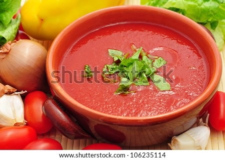 Tomato soup closeup
