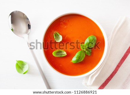 tomato soup flat lay on white backgorund #1126886921