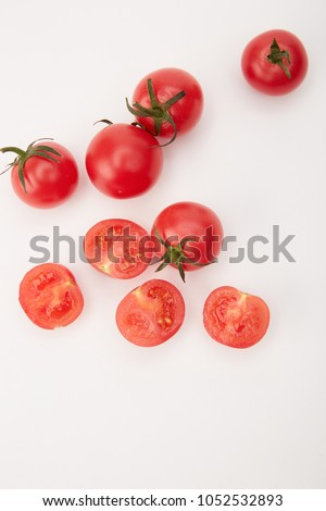 Tomato tomato cherry tomato cherry tomato fresh red green vegetable food chopping board #1052532893