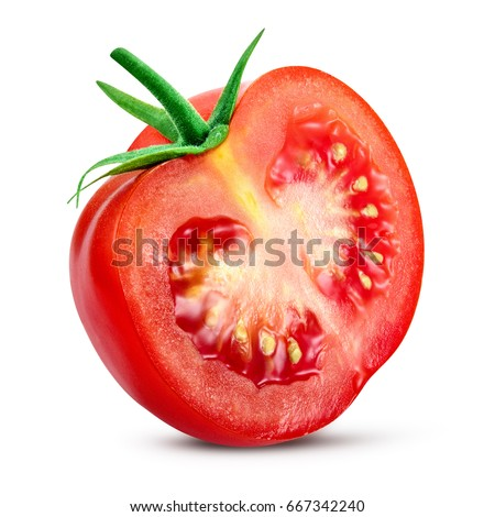 Tomato. Tomato slice. Full depth of field. With clipping path. #667342240