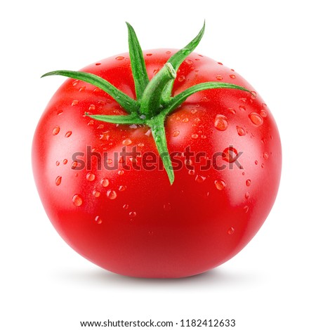 Tomato. Tomato with drops isolated. With clipping path. Full depth of field.