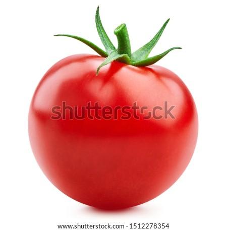 Tomato vegetables isolated on white. Fresh tomato fruit Clipping Path. Tomato macro photo