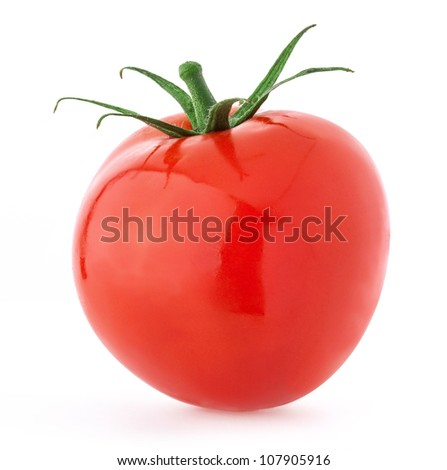 Tomato with a light shadows, isolated on white, with clipping paths
