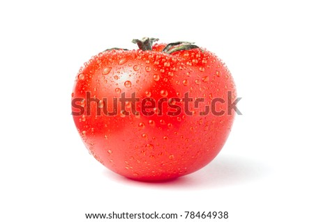 Tomato with fresh droplets isolated over white background