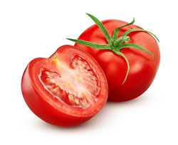 Tomato with half isolated on white background