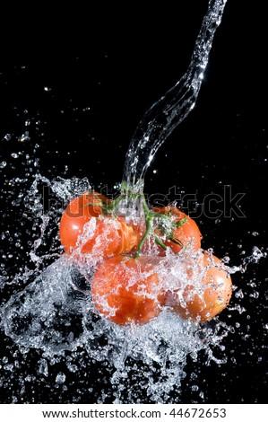 Tomato  with splashing water .Fresh vegetable.Vegetarian food background