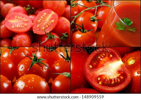Tomatoes and tomato juice collage image