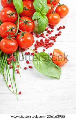 Tomatoes, chives, peppers, herbs on white #236163955