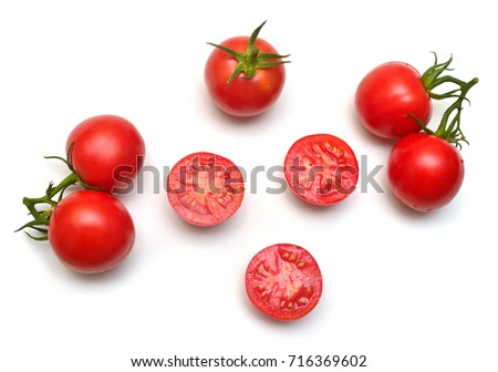 Tomatoes collection of whole and sliced isolated on white background. Tasty and healthy food. Flat lay, top view  #716369602