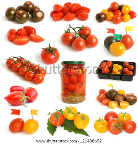 Tomatoes collection on a white background