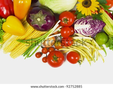 tomatoes, eggplants, vegetable marrows, pepper, string bean, onions, garlic and corn