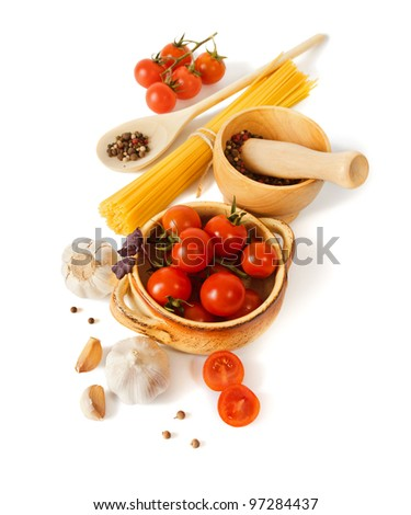 Tomatoes, garlic and paste are isolated on a white background - stock photo