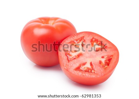 Tomatoes isolated on white background. / One and half tomatoe.