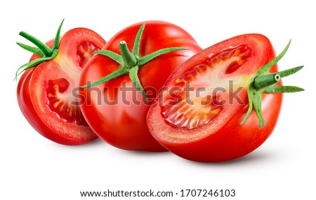 Tomatoes isolated on white background. Tomato isolate. Tomatoes side view. Whole, cut, slice tomatoes. Clipping path.