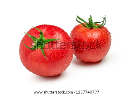Tomatoes isolated on white background. Two fresh raw vegetables