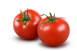 Tomatoes isolated on white background. with clipping path. Full depth of field.