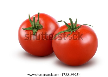 Tomatoes isolated on white background. with clipping path. Full depth of field. Stockfoto ©