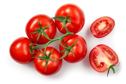 Tomatoes isolated. Tomato branch on white. Tomato with clipping path. Top view tomatoes. Tomato flat lay.