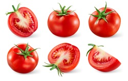Tomatoes isolated. Tomato whole, cut, half, slice on white. Tomato with clipping path. Tomato set.